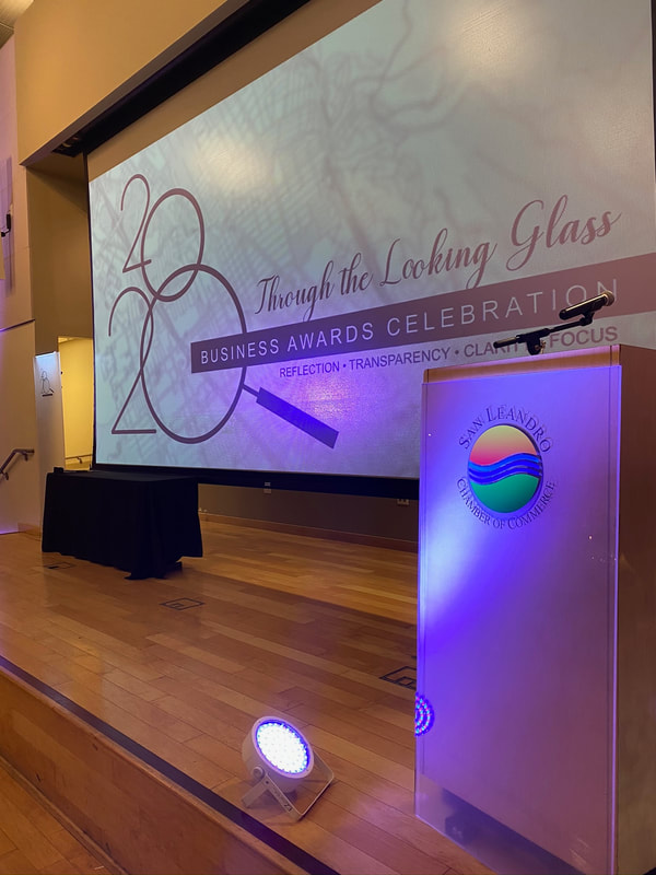 "Frosted 1/4"" acrylic mounted to the podium at the San Leandro Chamber of Commerce Business Awards.  The SL logo screen printed on the acrylic."