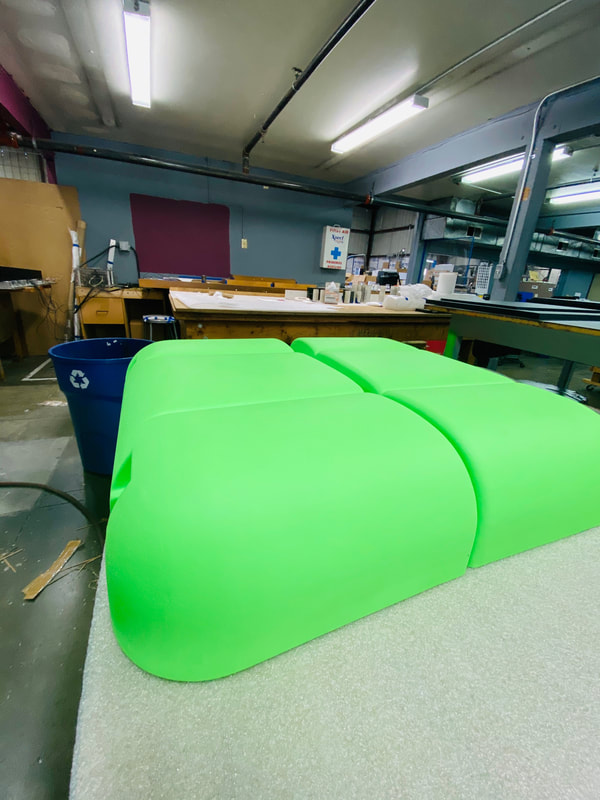A vacuum formed part made in bright green!